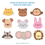 Selection of cute hand-drawn animals smiling
