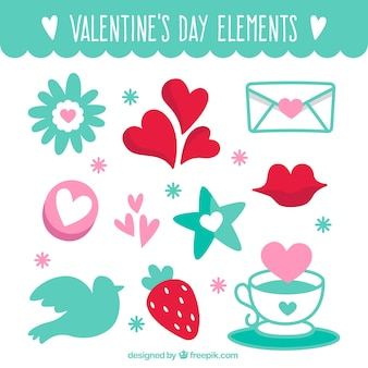 Selection of decorative valentine items in flat design