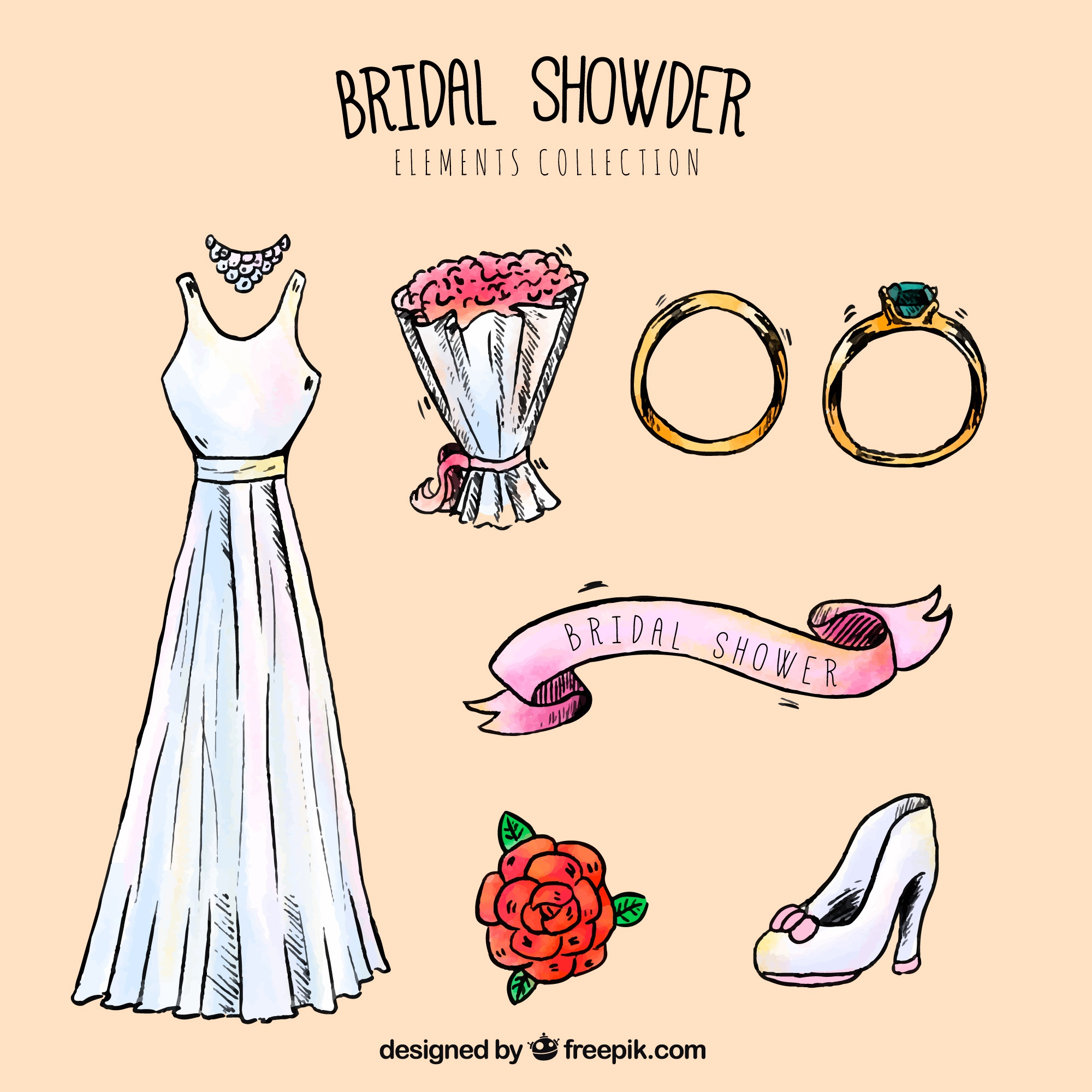 Selection of decorative wedding accessories