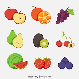 Selection of delicious fruits in flat design