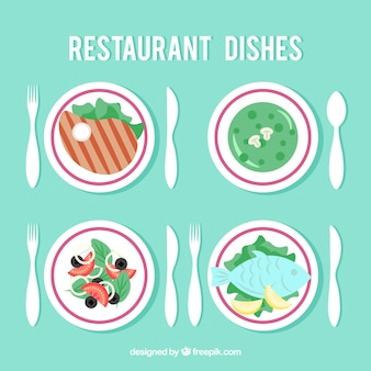 Selection of dishes for restaurant, flat style