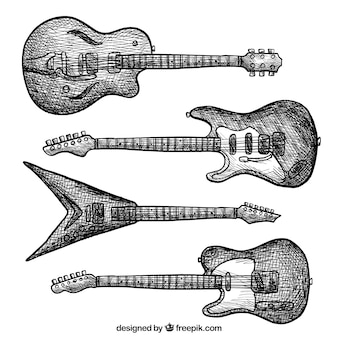 Selection of electric guitars in vintage style