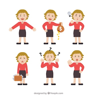 Selection of expressive businesswoman character in flat design