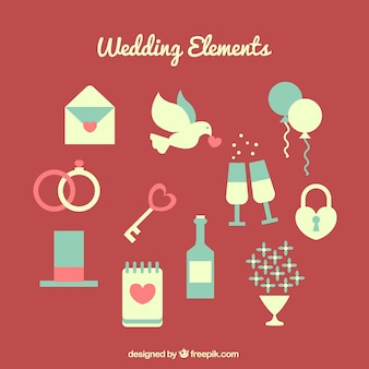 Selection of fantastic wedding objects in flat design