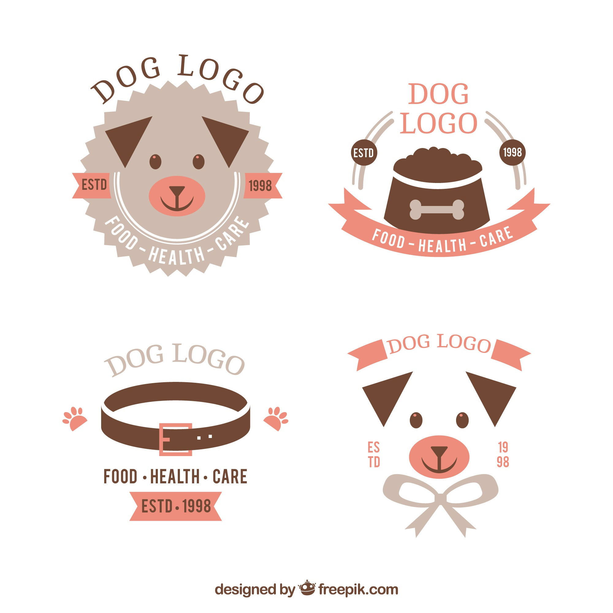 Selection of flat dog logos with pink details