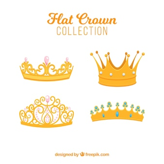 Selection of four flat crowns with decorative gems