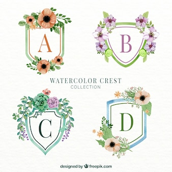 Selection of four floral emblems