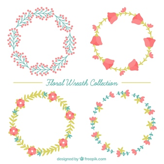 Selection of four floral wreaths