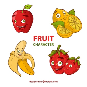 Selection of four happy fruit characters