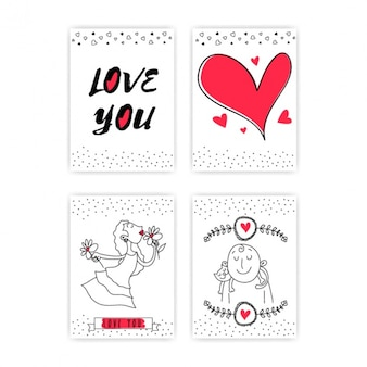Selection of four love cards with red details