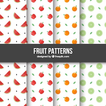Selection of four patterns with flat fruits