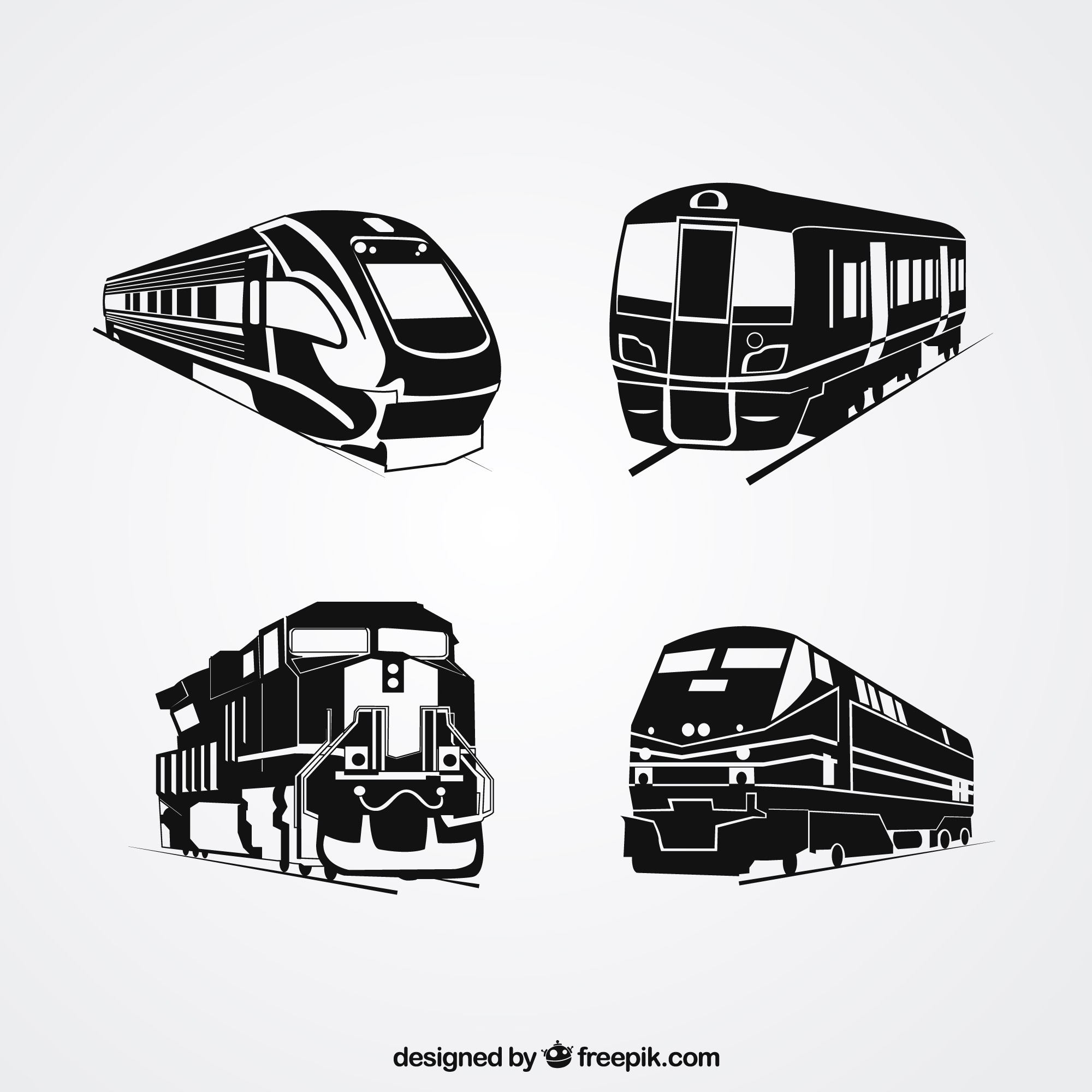 Selection of four train silhouettes