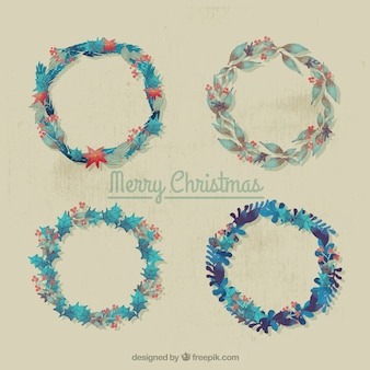 Selection of four vintage wreaths for christmas