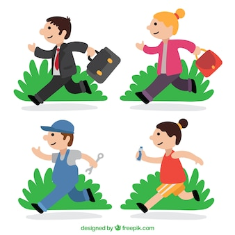 Selection of four workers running