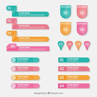 Selection of geometric infographic elements