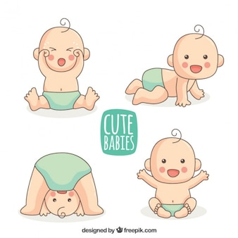 Selection of hand-drawn baby with blue diaper