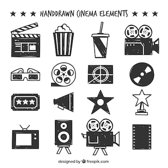 Selection of hand-drawn cinema objects