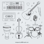 Selection of hand drawn elements for a music studio