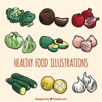 Selection of hand-drawn food