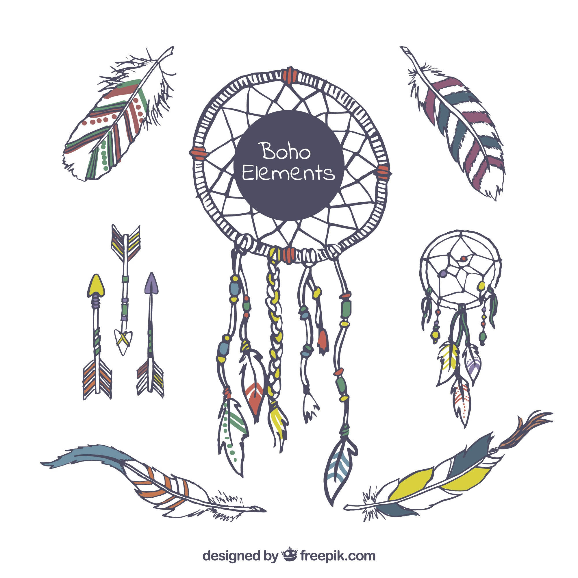 Selection of hand-drawn objects in boho style