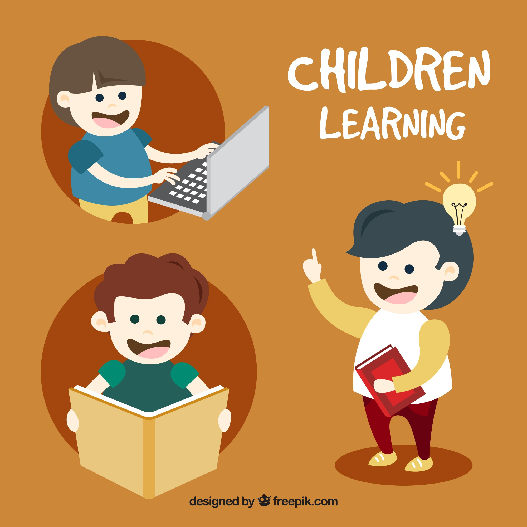 Selection of happy kids learning
