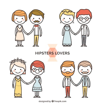 Selection of hipster lovers