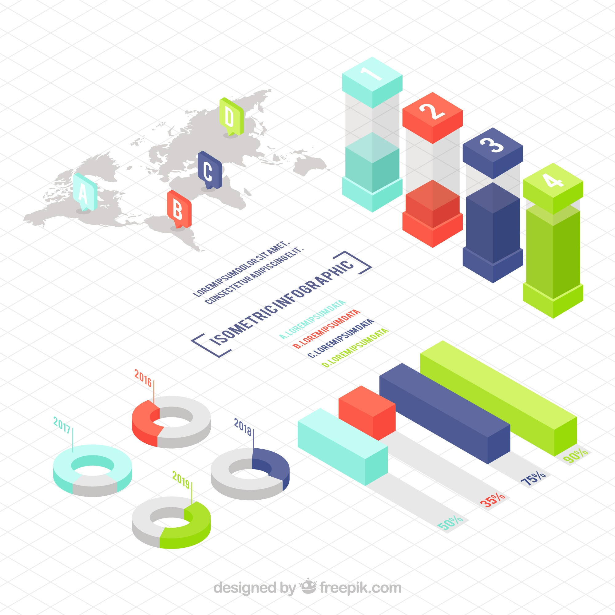 Selection of infographics elements in isometric design