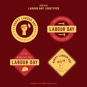 Selection of labour day badges in vintage style