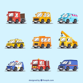 Selection of nine different vehicles