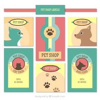 Selection of pet shop labels in pastel colors