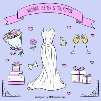 Selection of pretty wedding elements in hand-drawn style