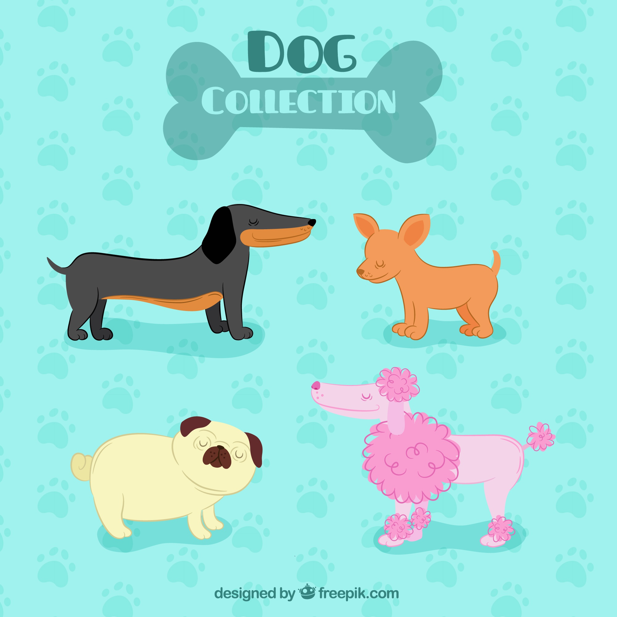 Selection of profile dogs in flat design