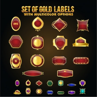 Selection of red and golden shields