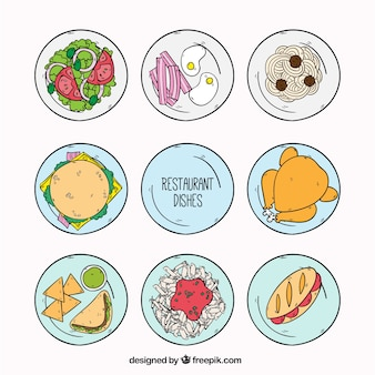 Selection of restaurant dishes, hand drawn
