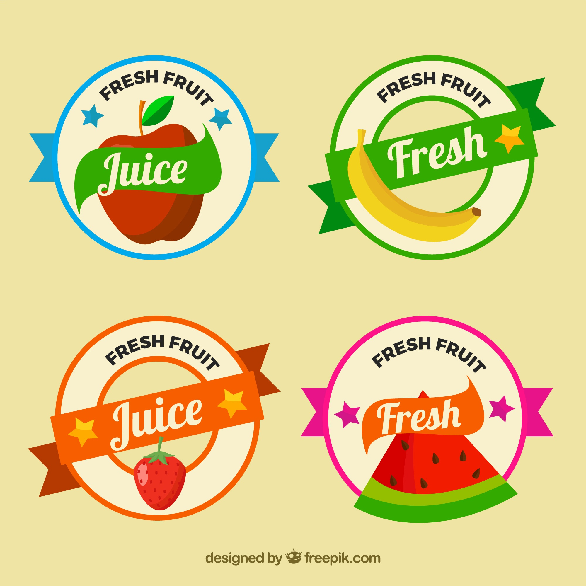 Selection of round fruit labels
