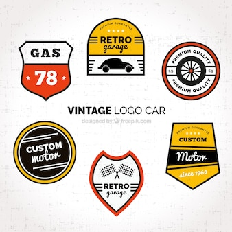 Selection of six colored car logos in retro style