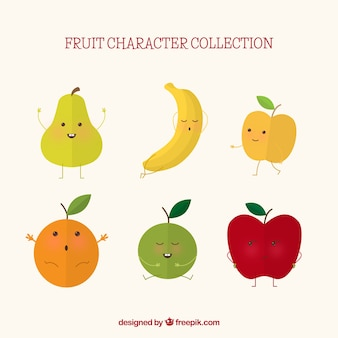 Selection of six expressive fruit characters