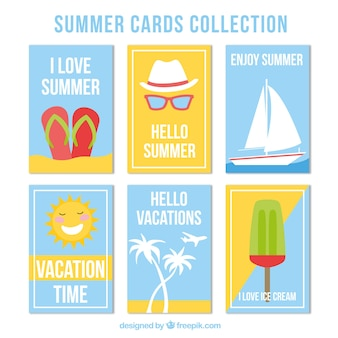 Selection of six flat summer cards with decorative items