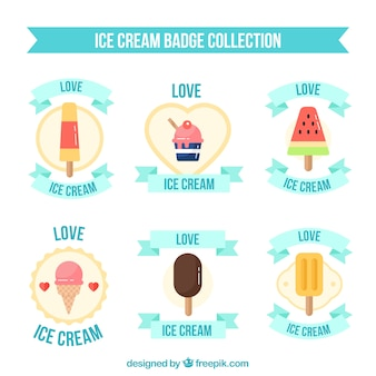 Selection of six ice cream badges in flat design