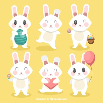 Selection of six pretty easter rabbits