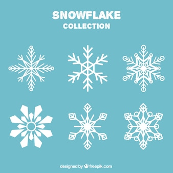 Selection of snowflakes in flat style