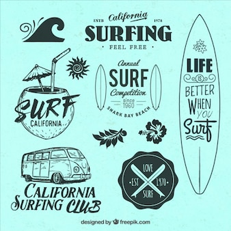 Selection of surf themed badges