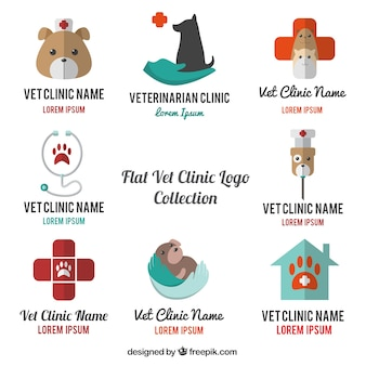 Selection of vet logos in flat design