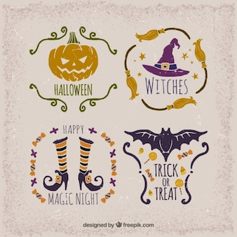 Selection of vintage stickers for halloween