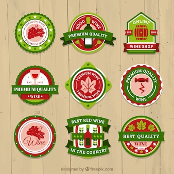 Selection of wine labels in red and green tones