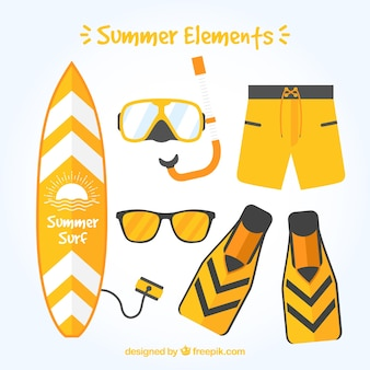 Selection of yellow summer objects