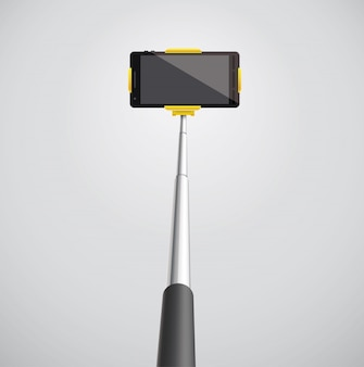Selfie monopod with phone eps 10 3d