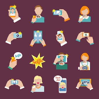 Selfie self portrait camera portrait photo taking flat icons set isolated vector illustration.