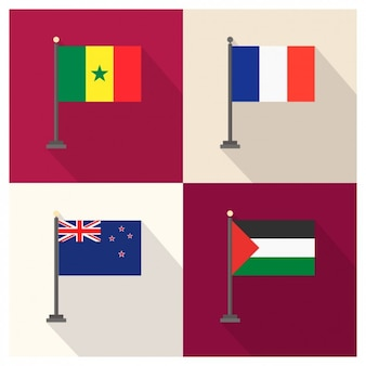 Senegal France New Zealand and Palestina Flag