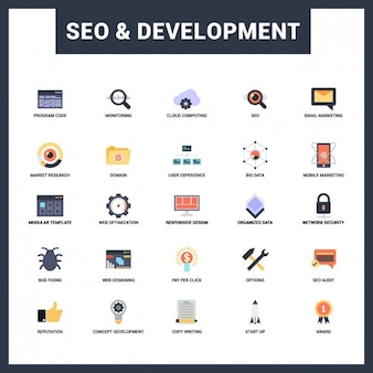 Seo and Development Flat Icon Collection